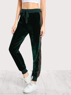 Gold Accent Velvet Sweatpants GREEN