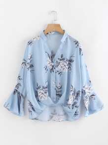 Flower Print Gathered Pleated Front Blouse