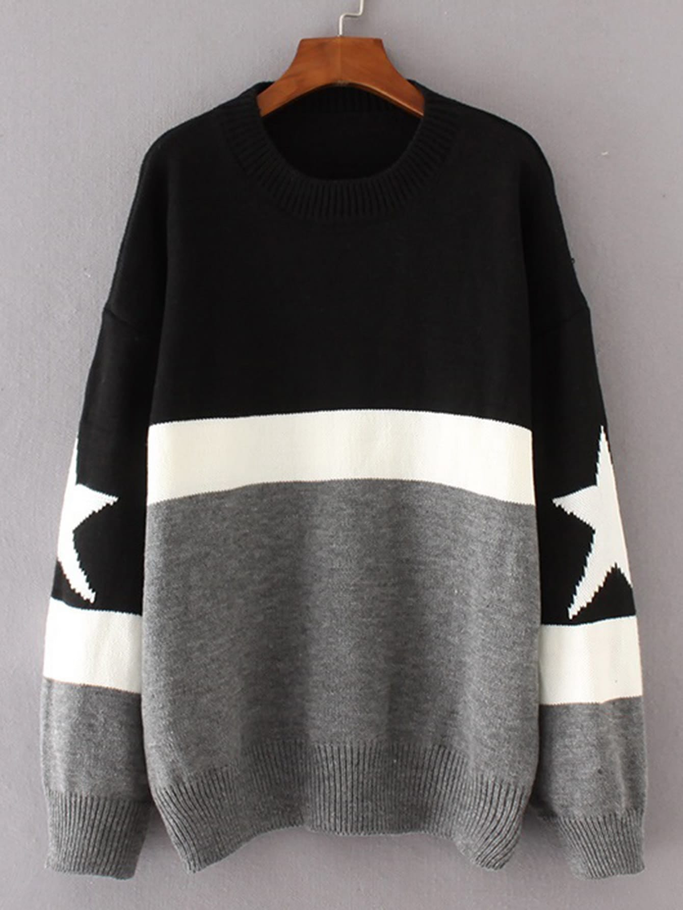 Star Detail Color Block Sweater sweater170919204