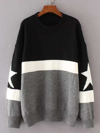 Star Detail Color Block Sweater