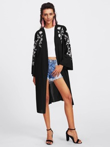 Botanical Embroidered Wrap Coat
