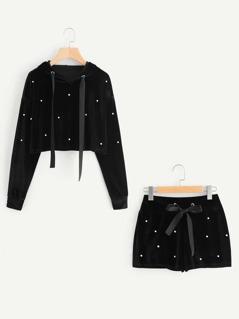 Pearl Beading Velvet Hoodie & Shorts Set