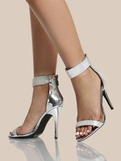 Crystal Encrusted Ankle Band Heels SILVER