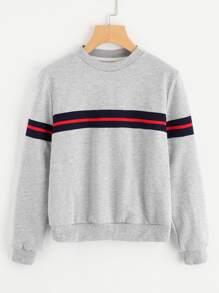 Striped Panel Heather Knit Sweatshirt