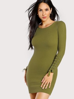 Lace Up Sleeve Ribbed Dress GREEN