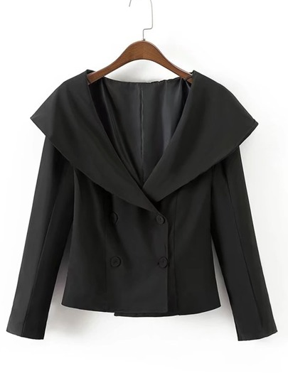 Slit Detail Cape Collar Blazer