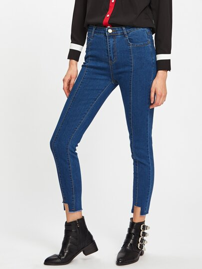 Cut Out Hem Jeans
