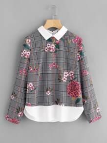 Контрастная модная блуза с принтом
