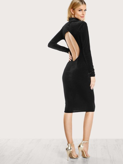 Turtleneck Long Sleeve Velvet Dress BLACK