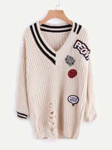V Neckline Striped Trim Patch Detail Ripped Sweater