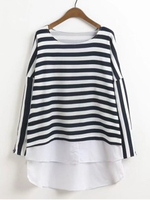 2 In 1 High Low Striped Top