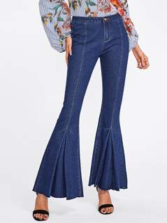 Fold Pleat Raw Hem Flared Jeans