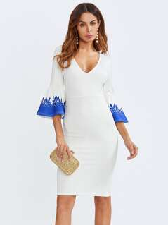 Print Fluted Sleeve Plunging Tailored Dress