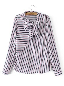 Bow Tie Striped Blouse