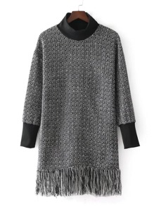 Contrast Trim Fringe Hem Tweed Dress