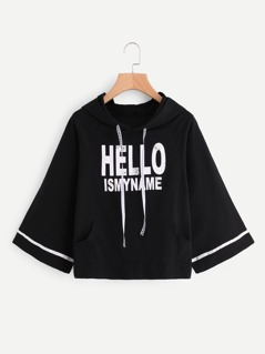 Striped Wide Sleeve Pocket Front Graphic Hoodie