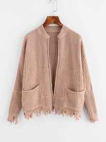 Raw Hem Double Pockets Sweater Coat