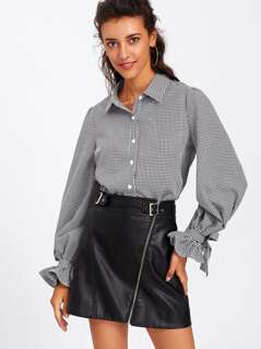 Bow Tied Ruffle Cuff Plaid Buttoned Blouse