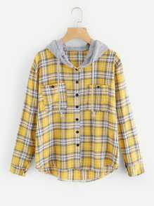 Tartan Hooded Blouse With Chest Pockets