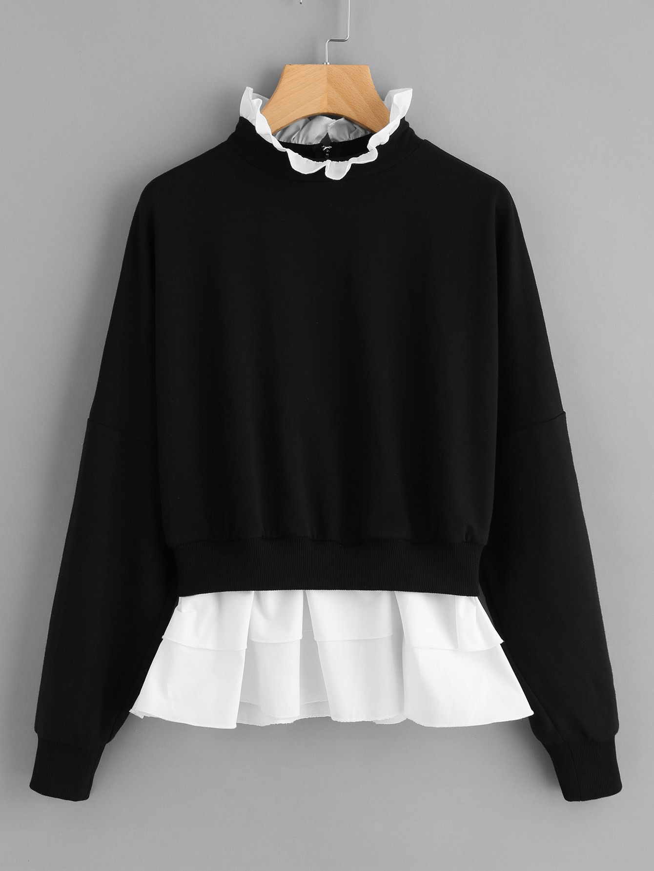Zip Back Frill Neck And Hem Sweatshirt zip back frill neck and hem sweatshirt