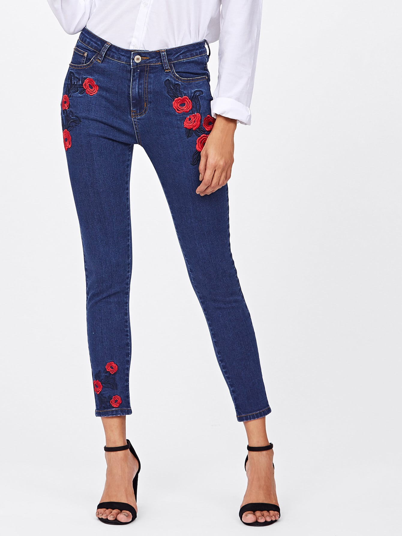 Dark Wash Rose Embroidered Jeans ferzige woman jeans boot cut embroidered high stretch womens flared pants ladies flowers embroidery blue jeans mujer femme jeans