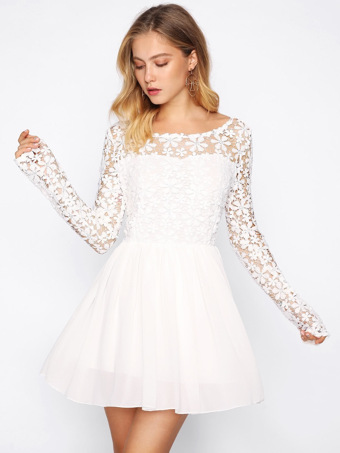 Hollow Out Crochet Panel V Back Swing Dress hollow out embroidery panel dress
