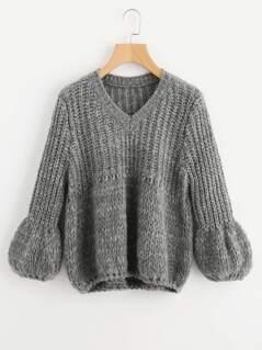 Puff Sleeve Mixed Knit Jumper
