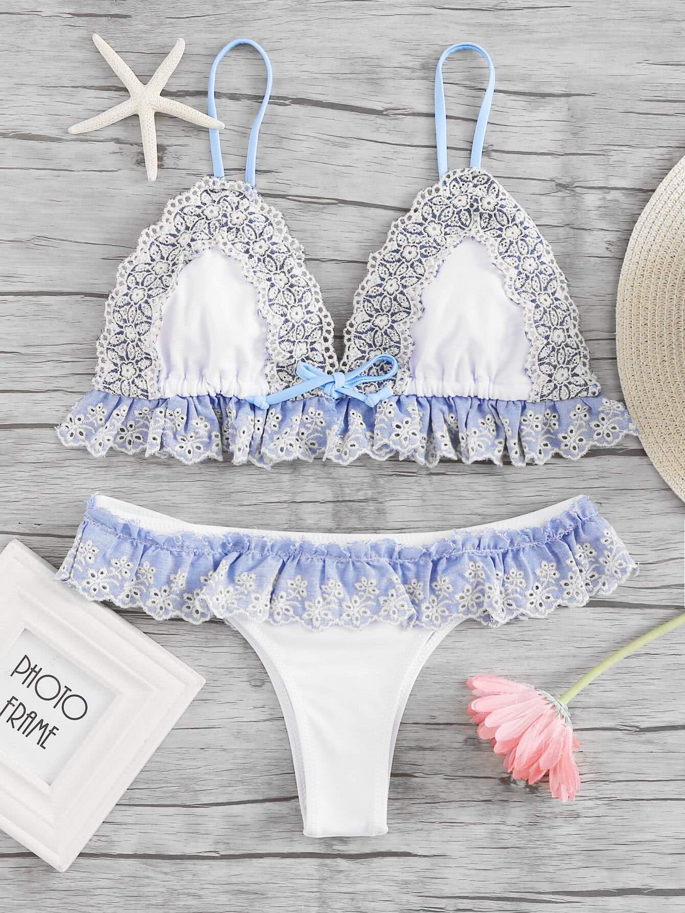 Lace Crochet Trim Ruffle Detail Bikini Set
