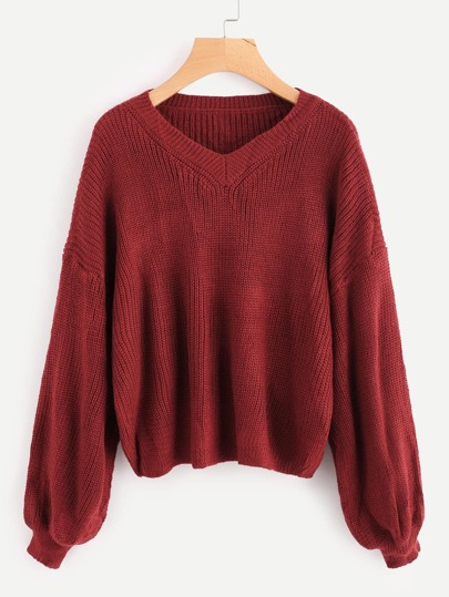 Bell Sleeve V Neckline Drop Shoulder Sweater