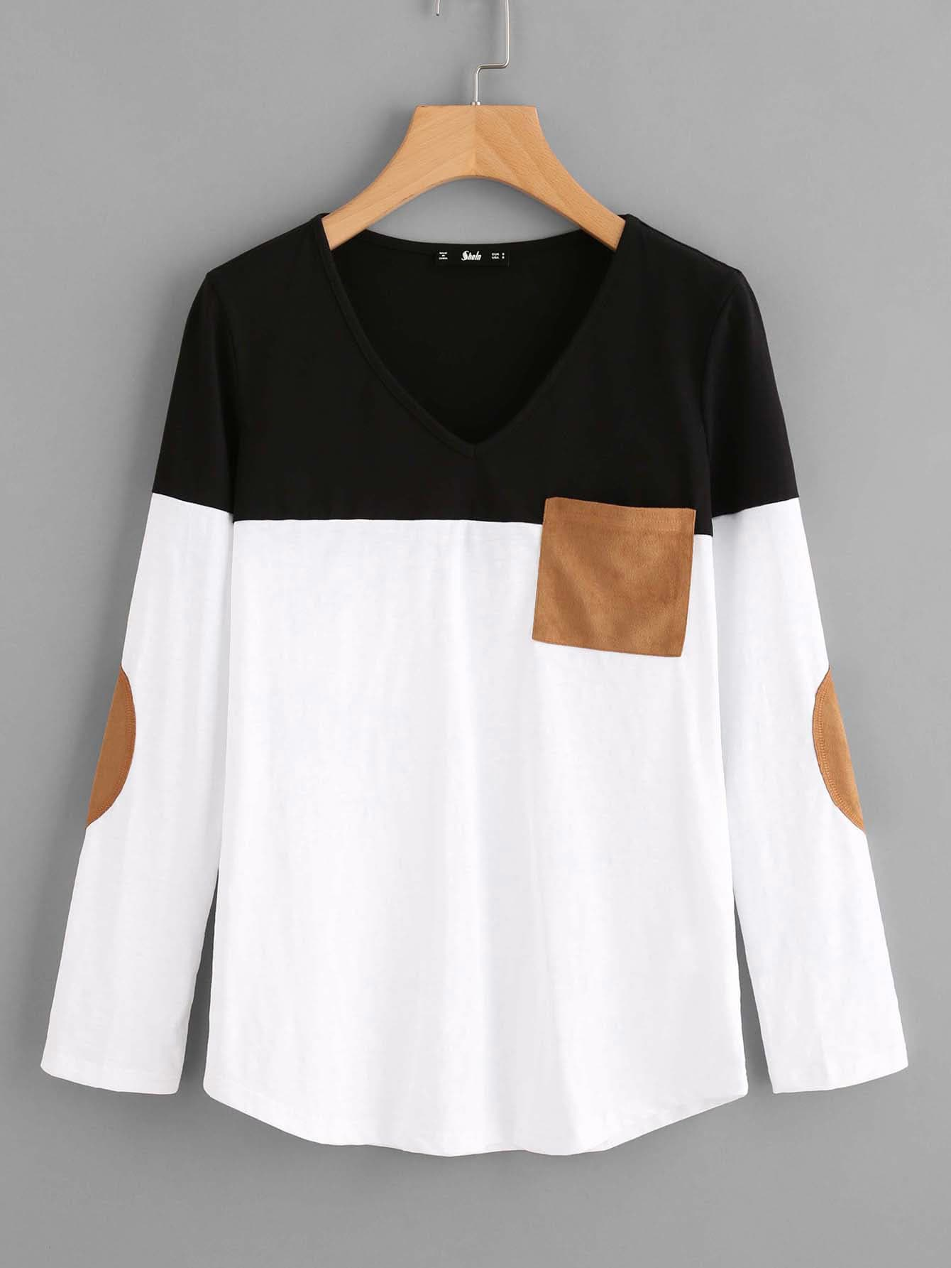 Suede Pocket And Elbow Patch Cut And Sew Tee cut and sew chiffon tee