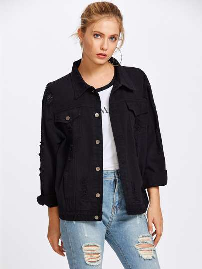 Black Wash Distressed Denim Jacket