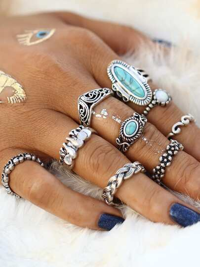 Turquoise Decorated Multi Shaped Ring Set 9pcs
