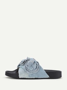 Flower Decorated Denim Slip On Sandals