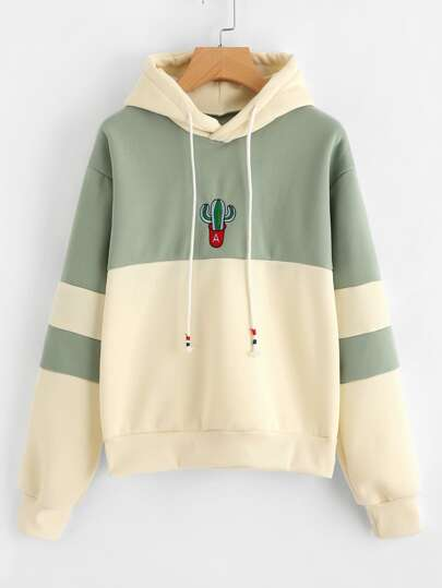 Cactus Embroidered Color Block Hoodie