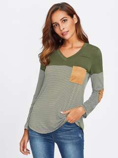 Elbow Patch Pocket Front Curve Dip Hem Top