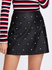 Pearl Beading Faux Suede Skirt