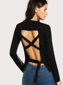 Back Cut Out Contrast Top BLACK