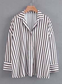 Vertical Striped Boyfriend Blouse