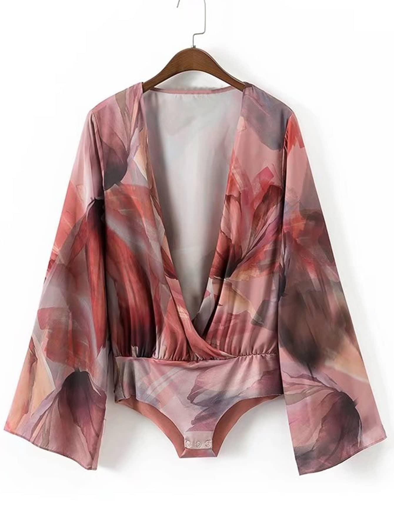 Abstract Print Surplice Plunge Neckline Bodysuit  цена и фото
