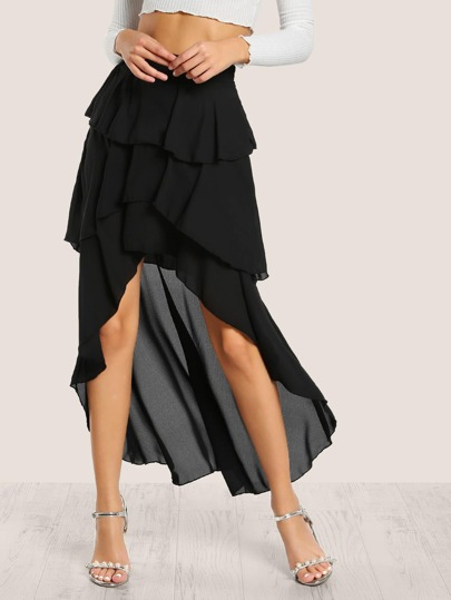 High Low Layered Skirt BLACK