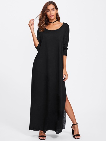 Slit Side Paper Thin Tee Dress