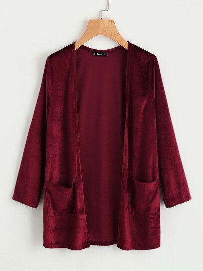 Pocket Front Velvet Coat