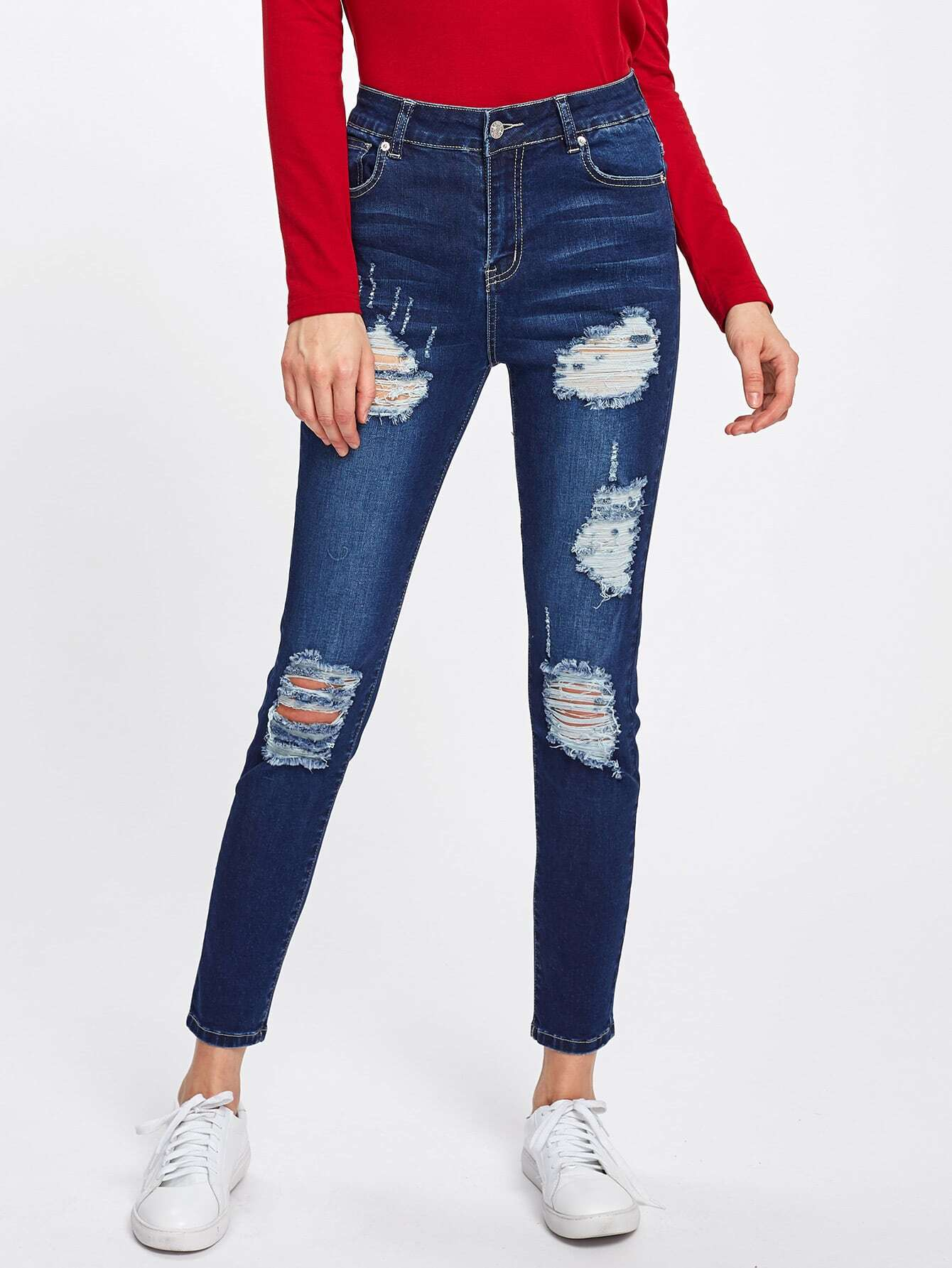 Dark Wash Ripped Skinny Jeans dark blue middle waist skinny elastic ripped jeans