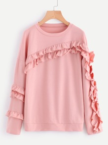 Ruffle Decoration Drop Shoulder Sweatshirt