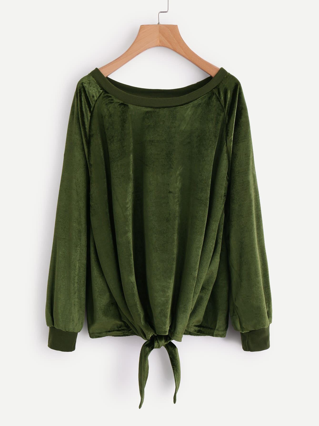 Knot Front Raglan Sleeve Velvet Sweatshirt цена