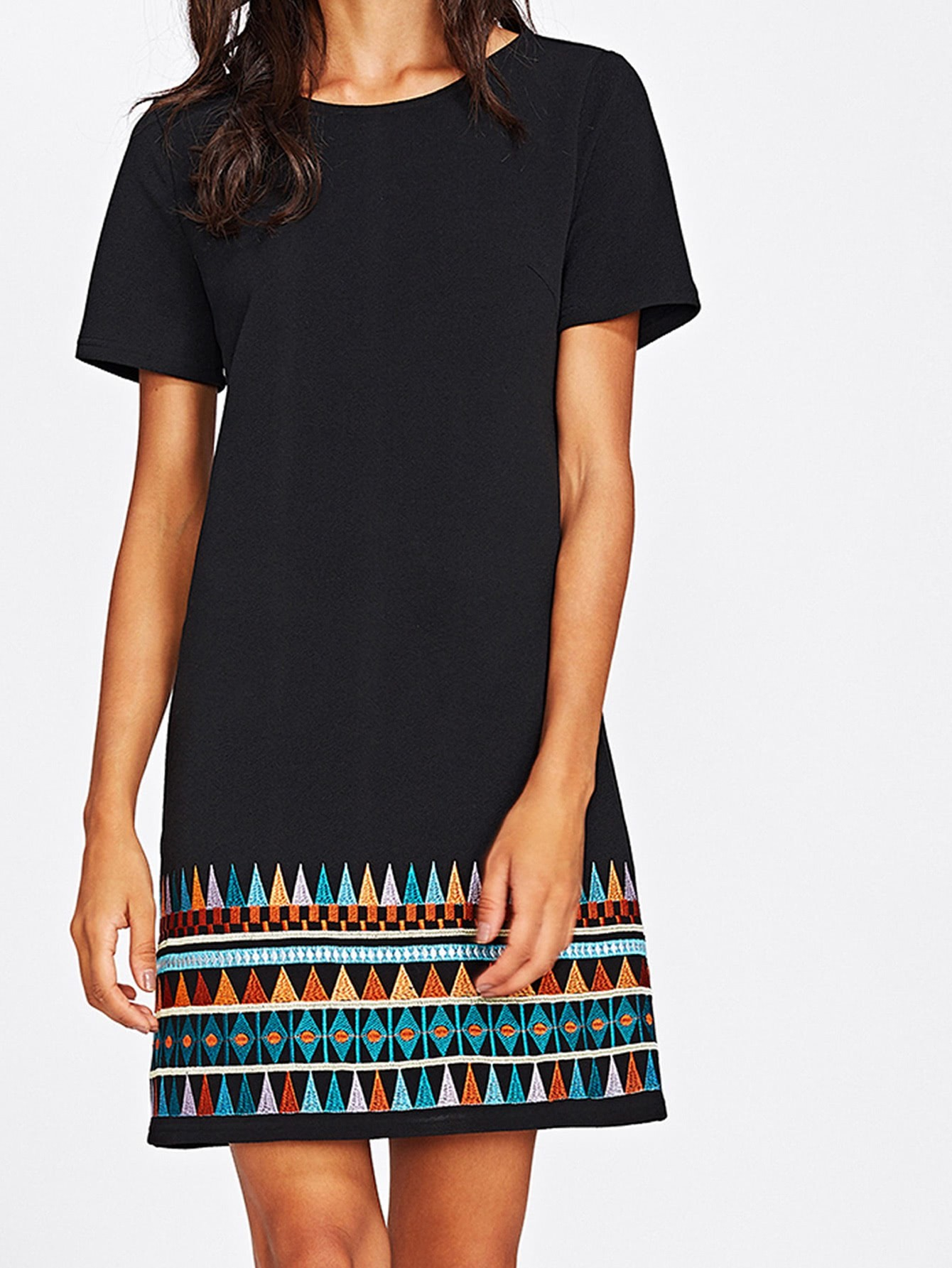 Aztec Embroidered Hem Dress embroidered double layer asym hem sheath dress