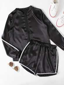 Striped Sleeve Baseball Jacket With Ringer Shorts
