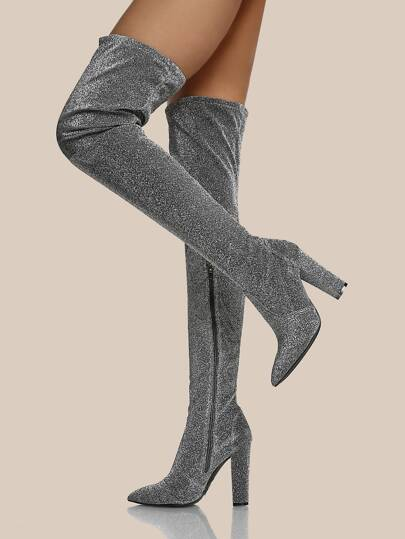 Glitter Fabric Point Toe Thigh High Boots SILVER