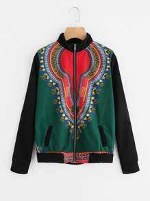 Contrast Sleeve Graphic Print Jacket