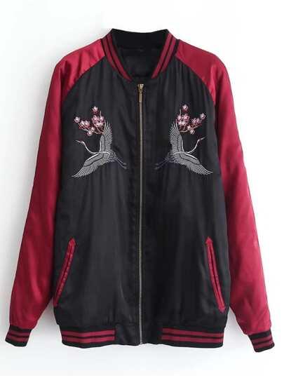 Crane Embroidery Raglan Sleeve Jacket